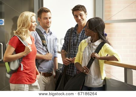 Mixed group of students in college