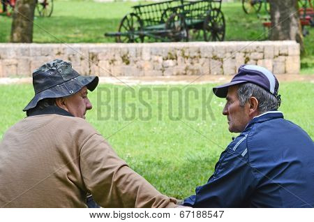Old men sitting on a park bench in Bitola