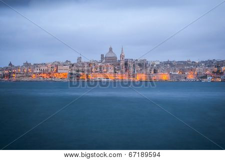 Valletta, Capital Of Malta At Night