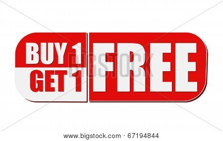 Buy One Get One Free, White And Red Flat Design Label