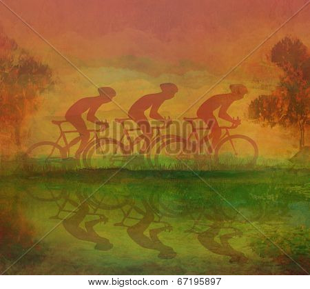 Three Cycling man silhouette Grunge Poster Template poster