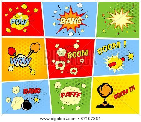 Vector comic boom or blast explosions and comic sound effects set poster