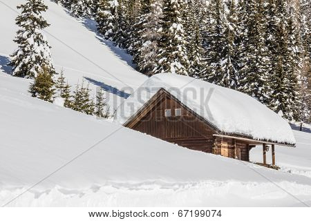 Winter Scenery With Wooden Hut and Trees