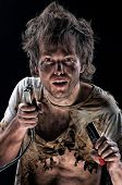Portrait of crazy electrician over black background poster
