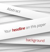 White paper rectangle banner on abstract 3d background with drop shadows. Vector illustration poster