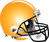 Vector illustration of orange football helmet on white background poster