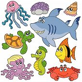 Sea fishes and animals collection 2 - vector illustration. poster