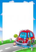 Frame with cartoon car wash - color illustration. poster