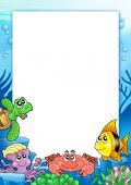Frame with various sea animals - color illustration. poster