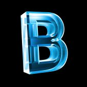 letter B in blue glass - 3D made poster
