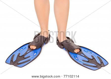 legs in flippers isolated on white