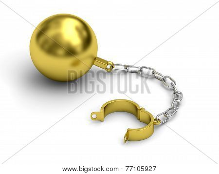 Golden Prison Shackle With Chain On White Background