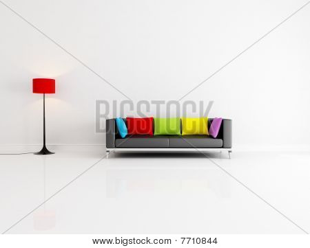 white minimalist living room with black couch with colored cushion - rendering poster