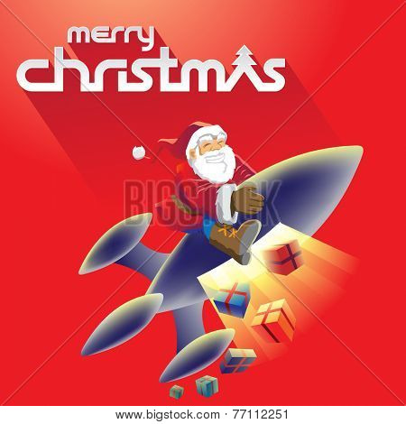 Stock Illustration of Santa Claus in front of Merry Christmas Text