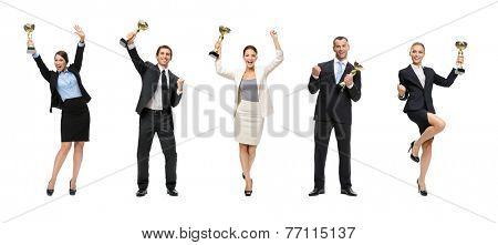 Full-length portrait of businessmen keeping golden cup and fist up gesturing, isolated on white. Concept of victory and success