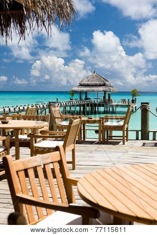 The cozy restaurant in the hotel, Maldivian island, Kuramathi