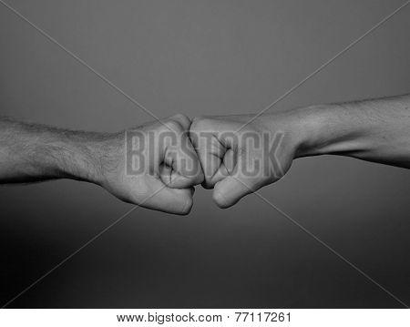 Close up of Two men punching