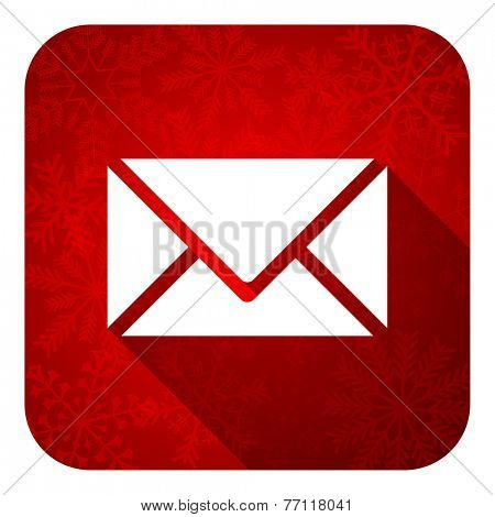 email flat icon, christmas button, post sign  poster