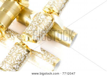 Gold Christmas Crackerrs Isolated On White