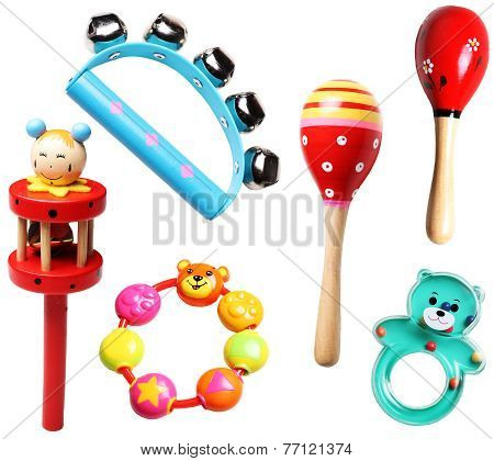 wooden and plastic rattles for children