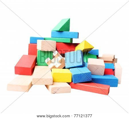 stack of colorful wooden blocks for children