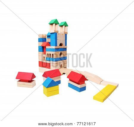 castle and village made of wooden blocks