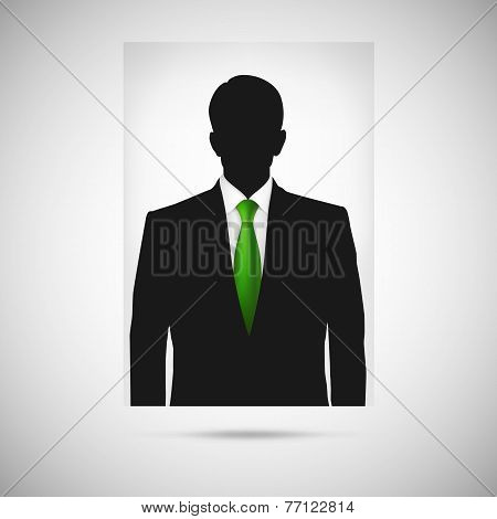 Profile picture whith green tie. Unknown person silhouette
