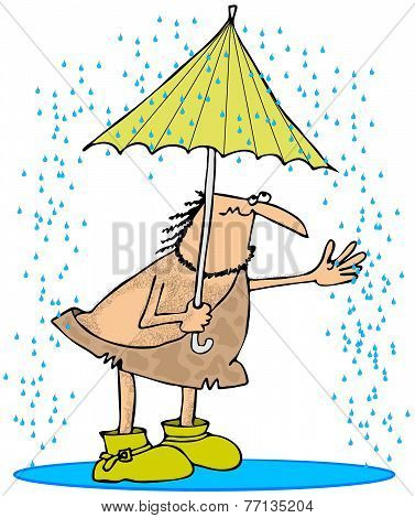 Caveman in the rain