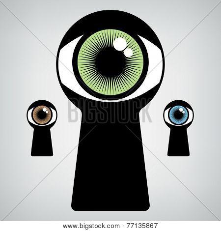 open human eye in keyhole