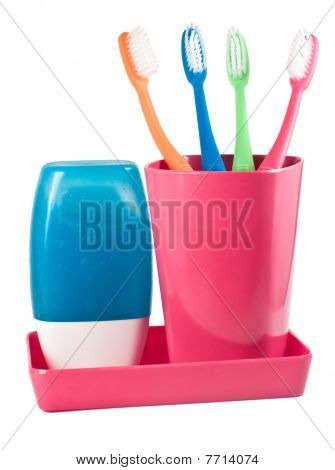 Family's Tooth Brushes And Tooth Paste