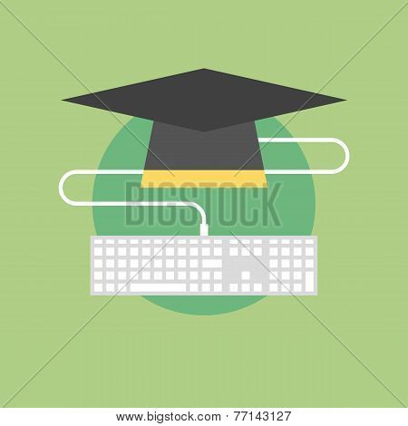 Internet Graduation Flat Icon Illustration