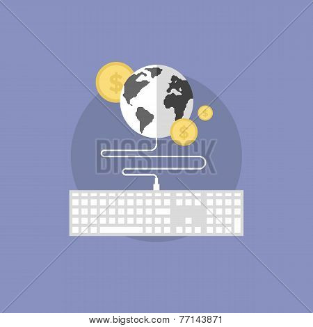 Global Finance Flat Icon Illustration
