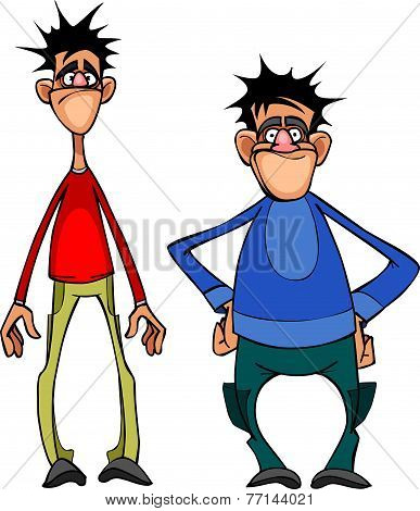 Cartoon Two Men, High And Below.eps