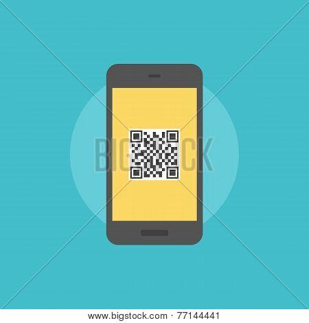 Qr-code On Smartphone Flat Icon Illustration