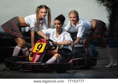 Girls play in Karting