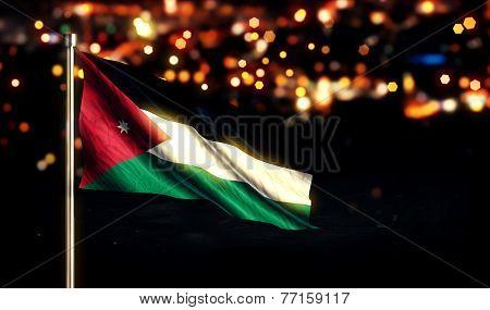 Jordan National Flag City Light Night Bokeh Background 3D