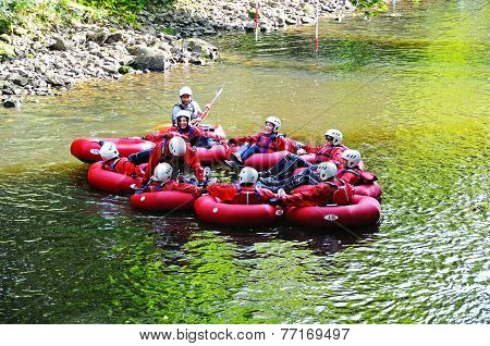 People in rubber canoes, Matlock Bath.