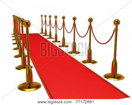 Golden rope barrier with red event carpet over white - 3d render poster