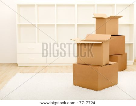 Boxes In Front Of Empty Shelves - Moving Concept
