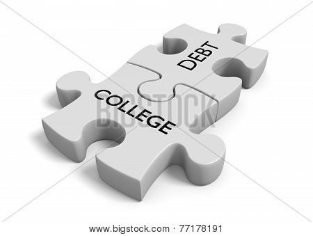 Student financial aid concept of puzzle pieces locked together with the words college debt