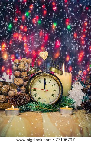 Festive Christmas Clock Time Twelfth New Year