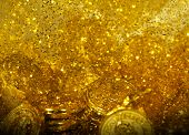 Golden texture golden coins and gol sand background poster