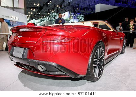 NEW YORK - APRIL 1: Aston Martin  exhibit Aston Martin Vanquish Volante at the 2015 New York International Auto Show during Press day,  public show is running from April 3-12, 2015 in New York, NY.