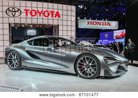 NEW YORK - APRIL 1: Toyota exhibit  Toyota FT-1 at the 2015 New York International Auto Show during Press day,  public show is running from April 3-12, 2015 in New York, NY.