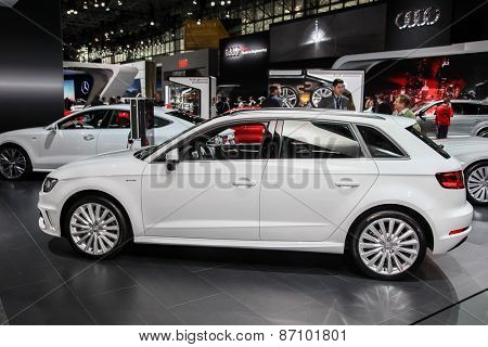 NEW YORK - APRIL 1: Audi exhibit Audi A3 e-tron at the 2015 New York International Auto Show during Press day,  public show is running from April 3-12, 2015 in New York, NY.