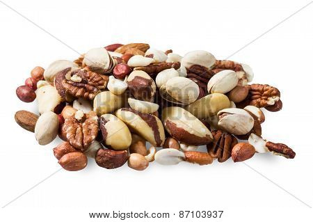 made from mixed kinds of nuts - pecans, hazelnuts, walnuts, cashews, almonds, pine nuts, pistachios