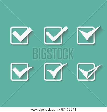 Set of six different white vector check marks or ticks in boxes conceptual of confirmation  acceptan