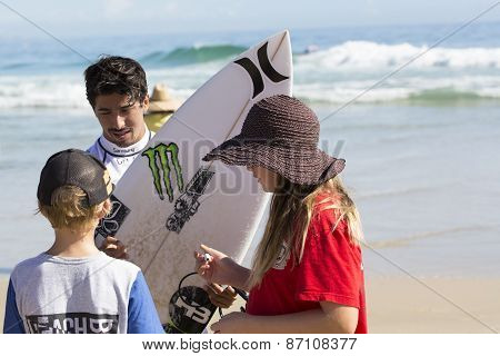 Miguel Pupo competing in the Quicksilver Pro at Snapper Rocks