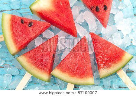 Watermelon Popsicle Yummy Fresh Summer Fruit Sweet Dessert Wood Teak
