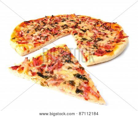pizza with the cut off slice